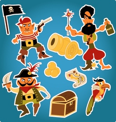 Cartoon pirates stickers vector image