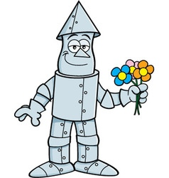 Cartoon tin man holding flowers vector image vector image