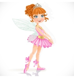 Cute little fairy girl in tiara isolated on a vector image