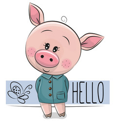 Cute pig isolated on a white background vector