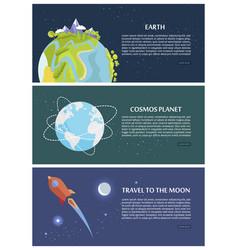 earth cosmos planet travel to moon concept vector image vector image