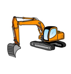 excavator isolated on the white vector image vector image