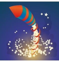 Flying firework rocket with a ribbon and stars in vector image vector image