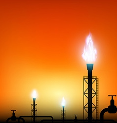 tube with a blue flame of gas on a sunset vector image