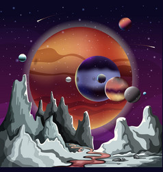 astronomical planet panorama with terrain and sky vector image vector image
