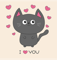 gray contour cat holding pink heart i love you vector image vector image