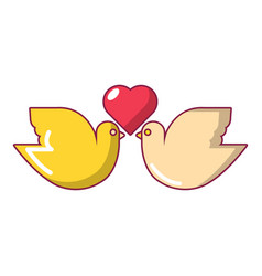 wedding doves with heart icon cartoon style vector image vector image