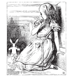 Alice White Rabbit vector image vector image