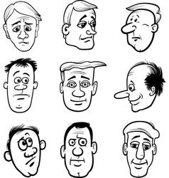 cartoon men characters heads set vector image vector image