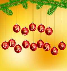 Christmas balls with pine branch vector image vector image