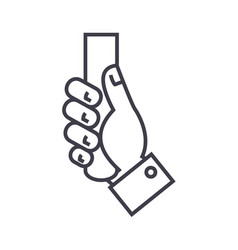 hand holding line icon sign vector image vector image