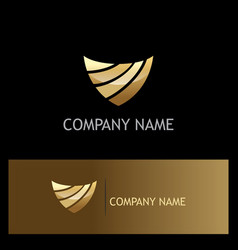 shield abstract technology gold logo vector image