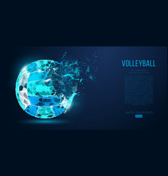 Abstract silhouette of volleyball ball neon vector