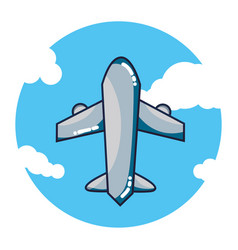 airplane flying cartoon vector image