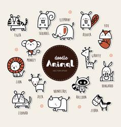 Animal icon set collection hand draw animal ic vector