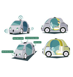 autonomous smart cars colorful set vector image