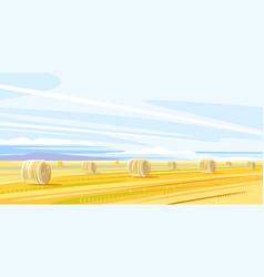 autumn rural landscape with haystacks vector image