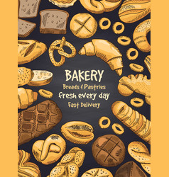 Bakery foods on black chalkboard vector