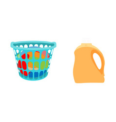 basket with linens and bottle of detergent vector image