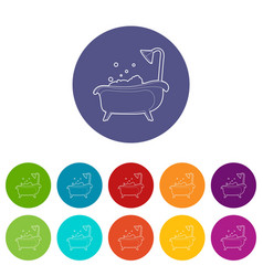 bath icons set color vector image