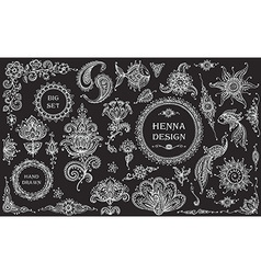 Big Set of henna floral and animal elements and vector