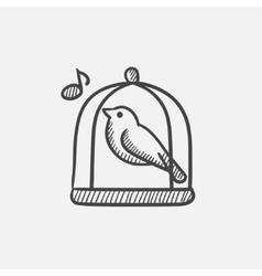 Bird singing in cage sketch icon vector