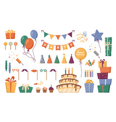 birthday party decorations cake and presents vector image