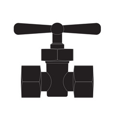 Black pipe connector with valve vector