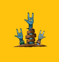 Blue cartoon zombie hand shows rock n roll vector