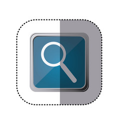 Blue emblem magnifying glass icon vector