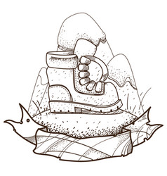 boot climber logo hiking climbing traveling for vector image