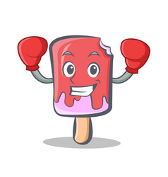 Boxing ice cream character cartoon vector