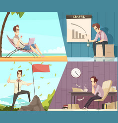 Business success failure cartoon banners vector
