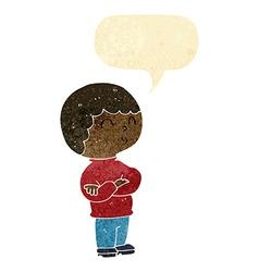 Cartoon boy with folded arms with speech bubble vector