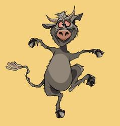 Cartoon funny horny gray devil fun jumping vector