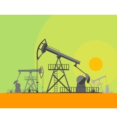 Cartoon Oil Derrick at Sunset Background vector image