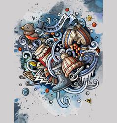 cartoon watercolor doodles winter vector image
