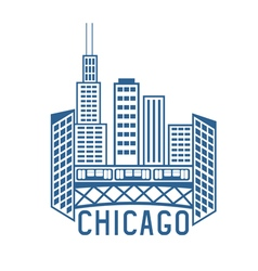 Chicago illinois usa skyline design template vector