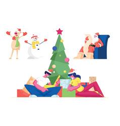 christmas celebration set characters celebrate vector image