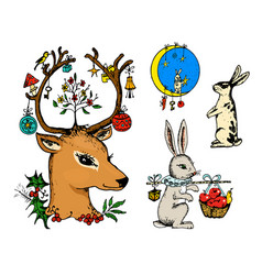 christmas deer and animal with flowers vector image
