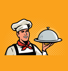 Cook chef with tray in retro pop art style vector