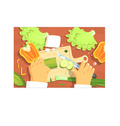cooking of salad hands working on food preparation vector image
