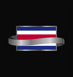 costa rica flag ribbon banner design vector image