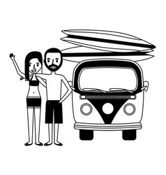 couple with van and surfboards isolated icon vector image