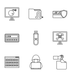 Cracking icons set outline style vector image