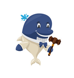cute auction blue whale cartoon character vector image