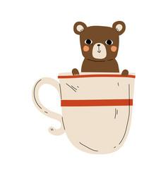 cute bear in teacup adorable little cartoon vector image