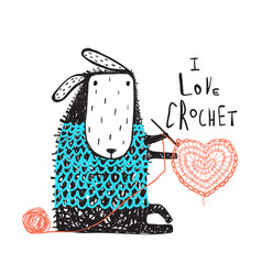 Cute sheep in warm sweater crocheting heart vector