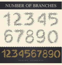 digits and numbers with floral details in retro vector image