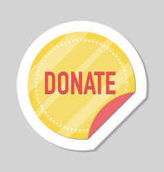 donate button sticker with gold coin vector image